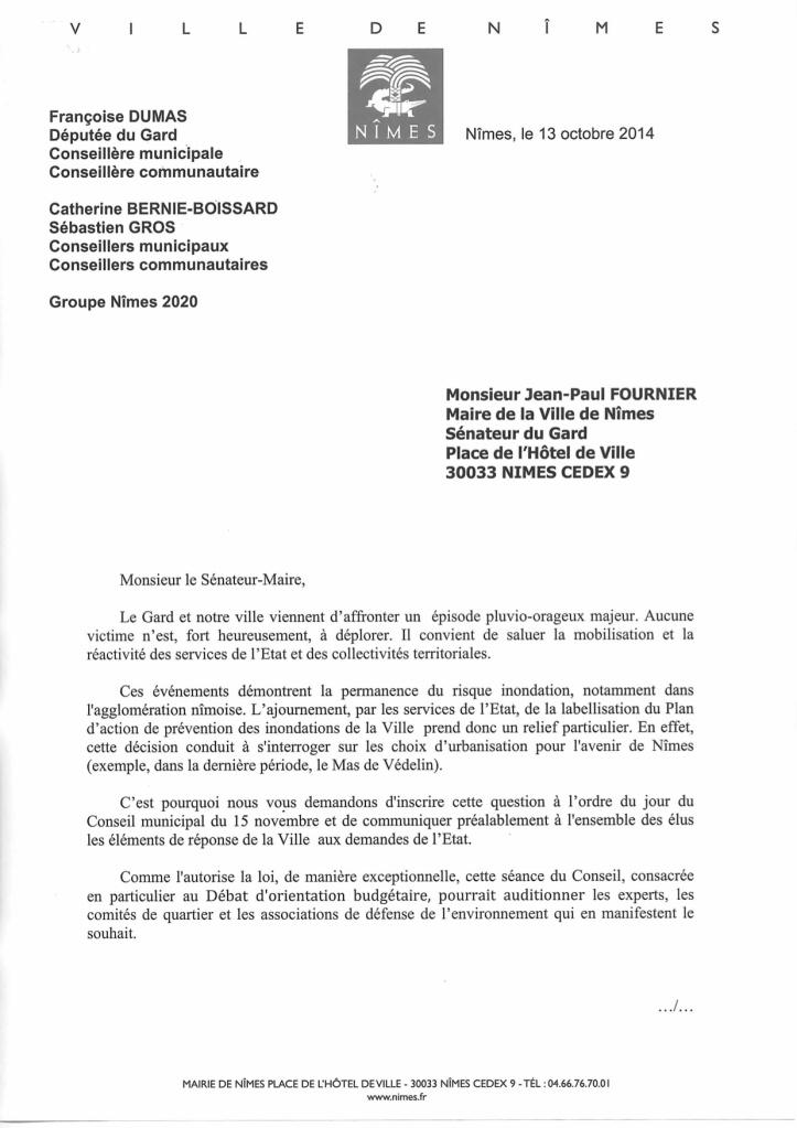 Courrier du Groupe Nîmes 2020 à JP FOURNIER-2