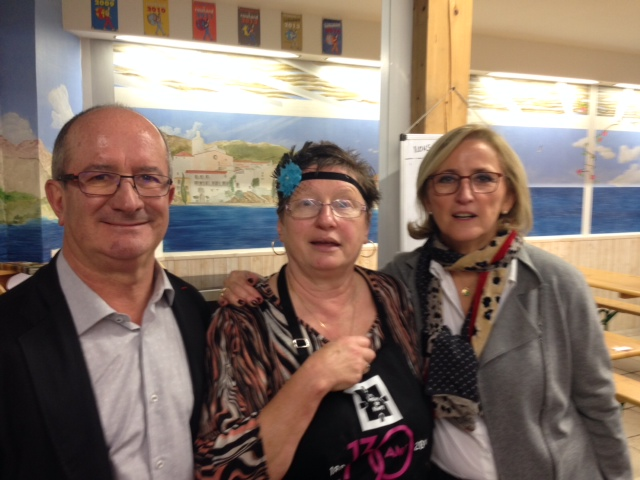 Avec Jean DENAT, Président du Conseil général du Gard,  aux côté d'Arlette, l'une des figures des Halles.